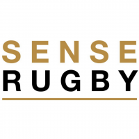 Sense Rugby Logo in Gold and Black text